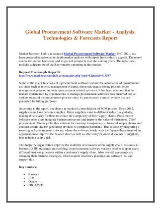 Global Procurement Software Market - Analysis, Technologies & Forecasts Report