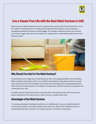 Live a Hassle Free Life with the Best Maid Services in UAE