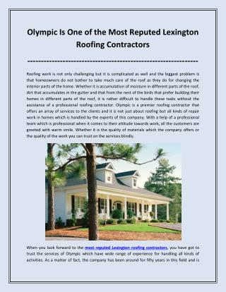 Olympic Is One of the Most Reputed Lexington Roofing Contractors