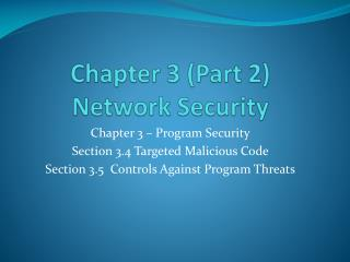 Chapter 3 (Part 2) Network Security