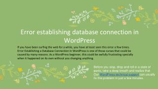 Error establishing database connection in WordPress