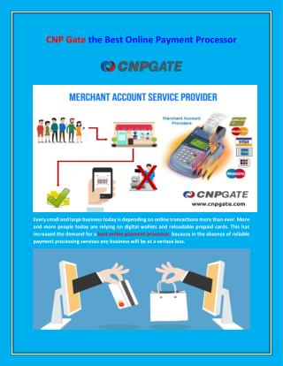 CNP Gate the Best Online Payment Processor