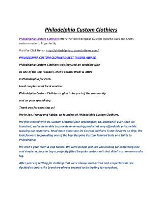 Philadelphia Custom Clothiers: Best Custom Tailored Suits & Shirts