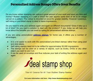Personalized Address Stamps Offers Great Benefits