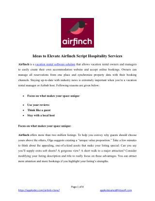 Ideas To Elevate Airfinch Script Hospitality Services