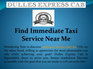 Find Immediate Taxi Service Near Me