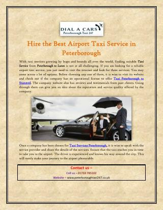 Hire the Best Airport Taxi Service in Peterborough