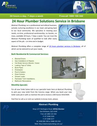 24 Hour Plumber Solutions Service in Brisbane