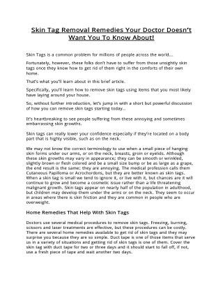 Discover 3 Effective Home Skin Tag Removal Remedies