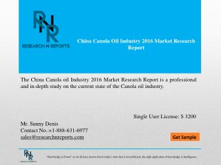 China Canola oil Market Outlook (2016-2021)