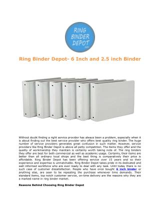 Ring Binder Depot- 6 Inch and 2.5 inch Binder