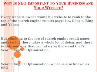Reasons Why SEO Is Important To Your Business and Your Website?