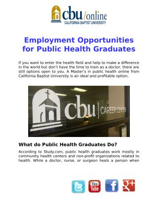 Employment Opportunities for Public Health Graduates
