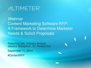 [Slides] Content Marketing Software RFP, by Altimeter Group