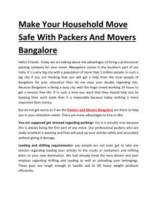 Make Your Household Move Safe With Packers And Movers Bangalore