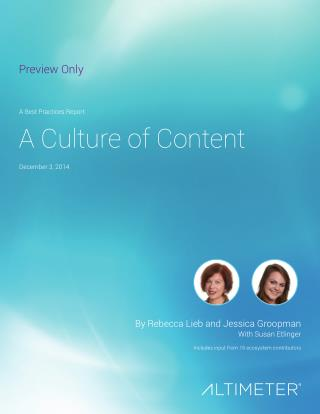 [Report] Culture of Content, by Altimeter Group