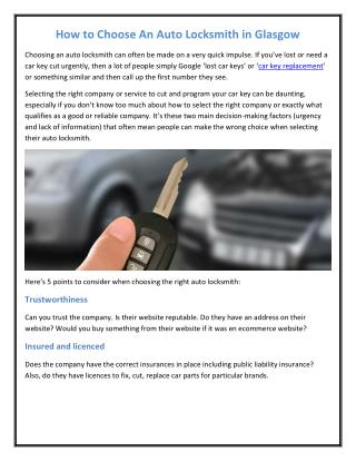 How to Choose An Auto Locksmith in Glasgow