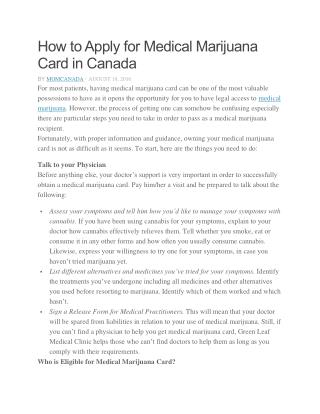 How to Apply for Medical Marijuana Card in Canada