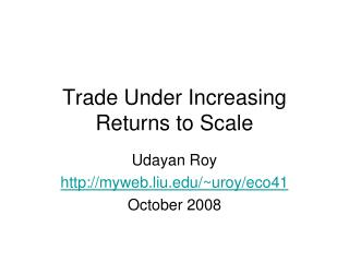 Trade Under Increasing Returns to Scale