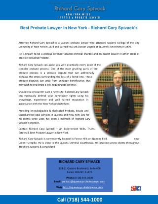 Best Probate Lawyer In New York - Richard Cary Spivack's