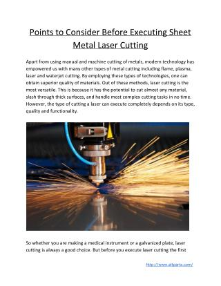 Points to Consider Before Executing Sheet Metal Laser Cutting