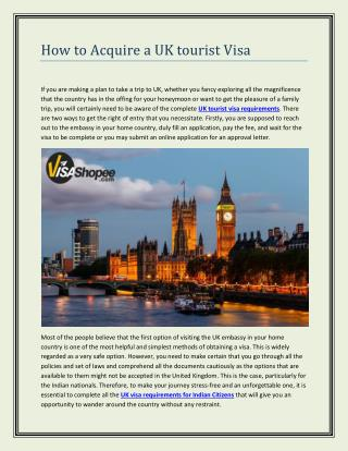 How to Acquire a UK tourist Visa
