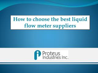 How to Choose Liquid Flow Meters Suppliers : Proteus Industries Inc.