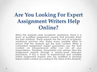 Assignment Expert - PhD Qualified Online Assignment Experts in Australia
