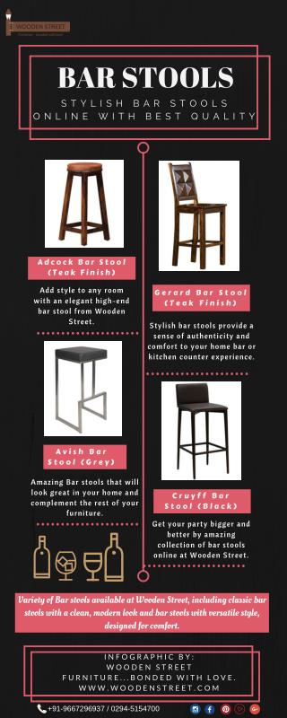 Bar Stools : Buy Stylish Bar Stools Online at Wooden Street