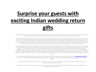 Surprise your guests with exciting Indian wedding return gifts