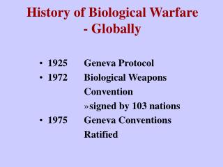 History of Biological Warfare - Globally