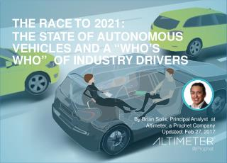 "The Race to 2021: The State of Autonomous Vehicles and a ""Who's Who"" of Industry Drivers"