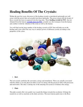 Healing Benefits Of The Crystals: