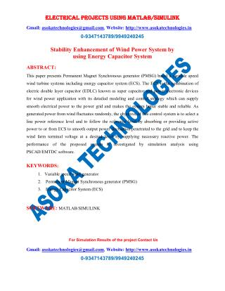 Stability Enhancement of Wind Power System by using Energy Capacitor System