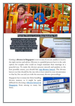 Find the Divorce Lawyer Best Suited for You