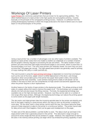 Workings Of Laser Printers