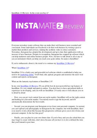 Instamate 2.0 Review, Product Tour & Bonus - Is It Worth Your Money?