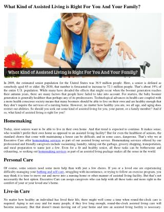 What Kind of Assisted Living is Right For You And Your Family?
