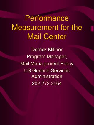 Performance Measurement for the Mail Center