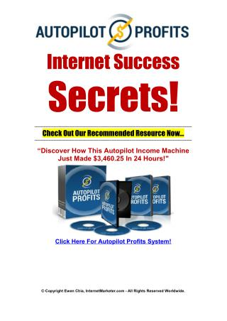 Your Well Known Internet Marketing Success Secrets