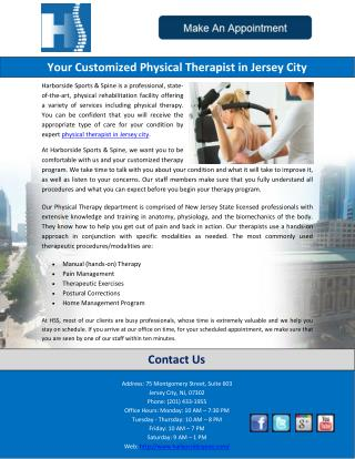 Your Customized Physical Therapist in Jersey City