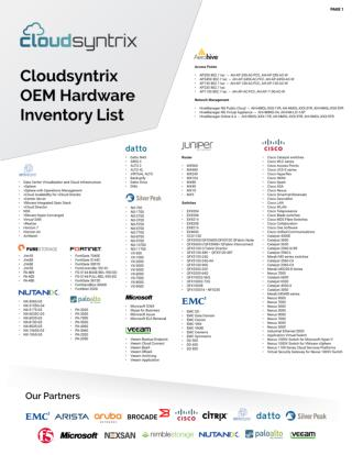 Cloudsyntrix OEM Hardware Inventory