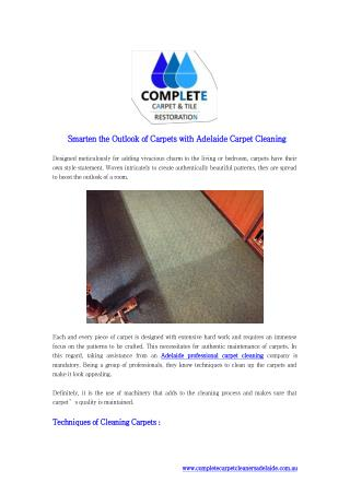 Smarten the Outlook of Carpets with Adelaide Carpet Cleaning