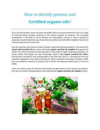How to identify genuine and certified organic oils?