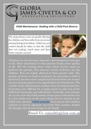 Child Maintenance- Dealing with a Child Post Divorce