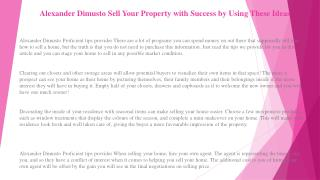Alexander Dimusto Tactics That Will Help You Get What You Want Out of Your Next Real Estate Sale