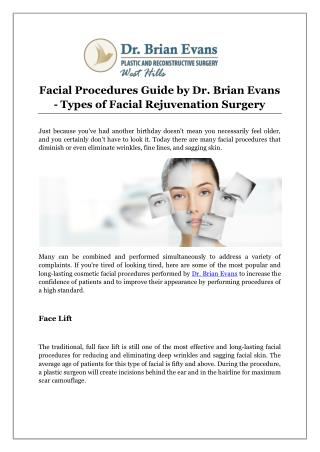 Facial Procedures Guide by Dr. Brian Evans - Types of Facial Rejuvenation Surgery