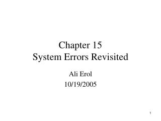 Chapter 15 System Errors Revisited