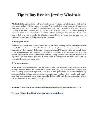 Tips to Buy Fashion Jewelry Wholesale