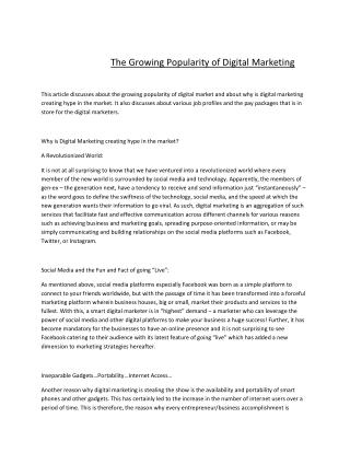 The Growing Popularity of Digital Marketing